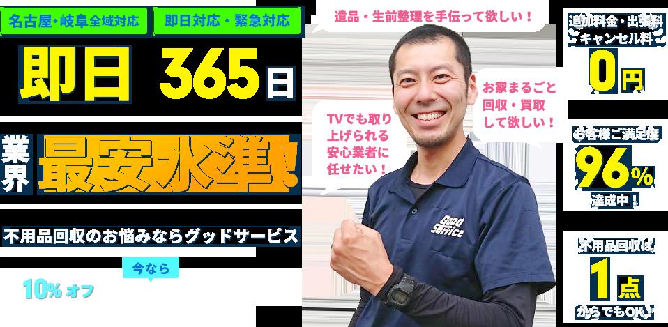 名古屋・岐阜全域対応 即日365日 業界最安水準